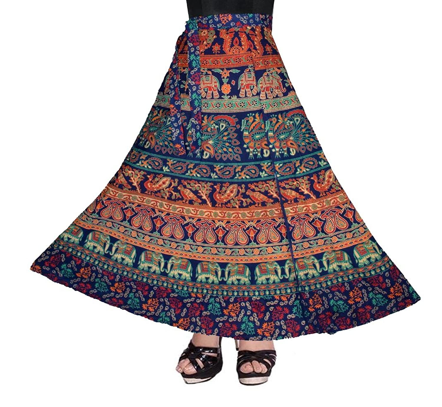 100% COTTON WOMEN'S SKIRT-(WRAP AROUND MULTI COLOR @ FREE SIZE)