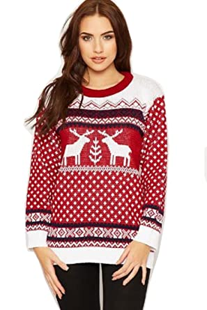 Crazy Girls Unisex Mens Womens Reindeer Christmas Jumper Fairisle ...