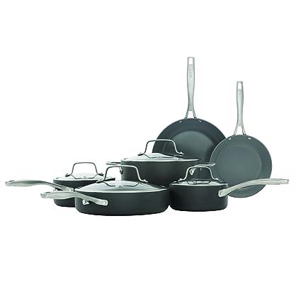 Superieur Bialetti 10 Piece Hard Anodized, Ceramic Pro Cookware Set, Nonstick Ceramic  Interior, Gray