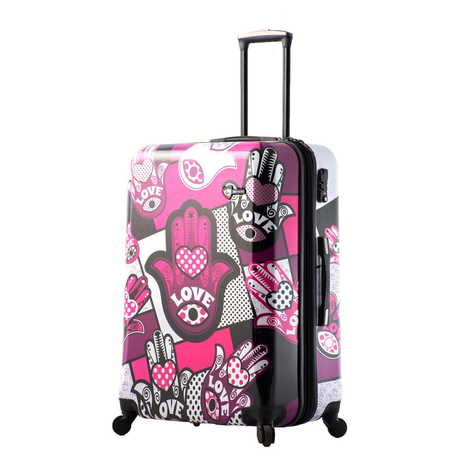 Mia Toro Italy Hamsa Love Monochrome Hard Side 28 Inch Spinner, Pink