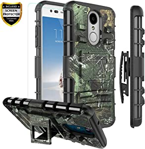 LG Aristo 3 Case,LG Aristo 2 Case/LG Aristo 2 Plus/Rebel 4 LTE/Tribute Empire/Zone 4/Phoenix 4/Risio 3/K8 2018/ K8 Plus/Fortune 2 Case, Armor Rugged Case Belt Clip Holster/Glass Screen Protector,Camo