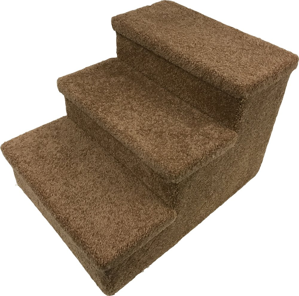 Penn Plax 3 Step Carpeted Pet Stairs for Both Cats & Dogs, 12.75''