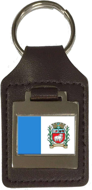 Leather Keyring Engraved Cordeiro City Rio De Janeiro State Flag
