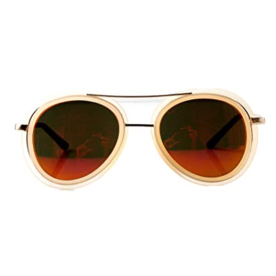 Accessoryo - Lunettes de soleil à aviateur nu avec un détail de front élevé et des lentilles revo colorées