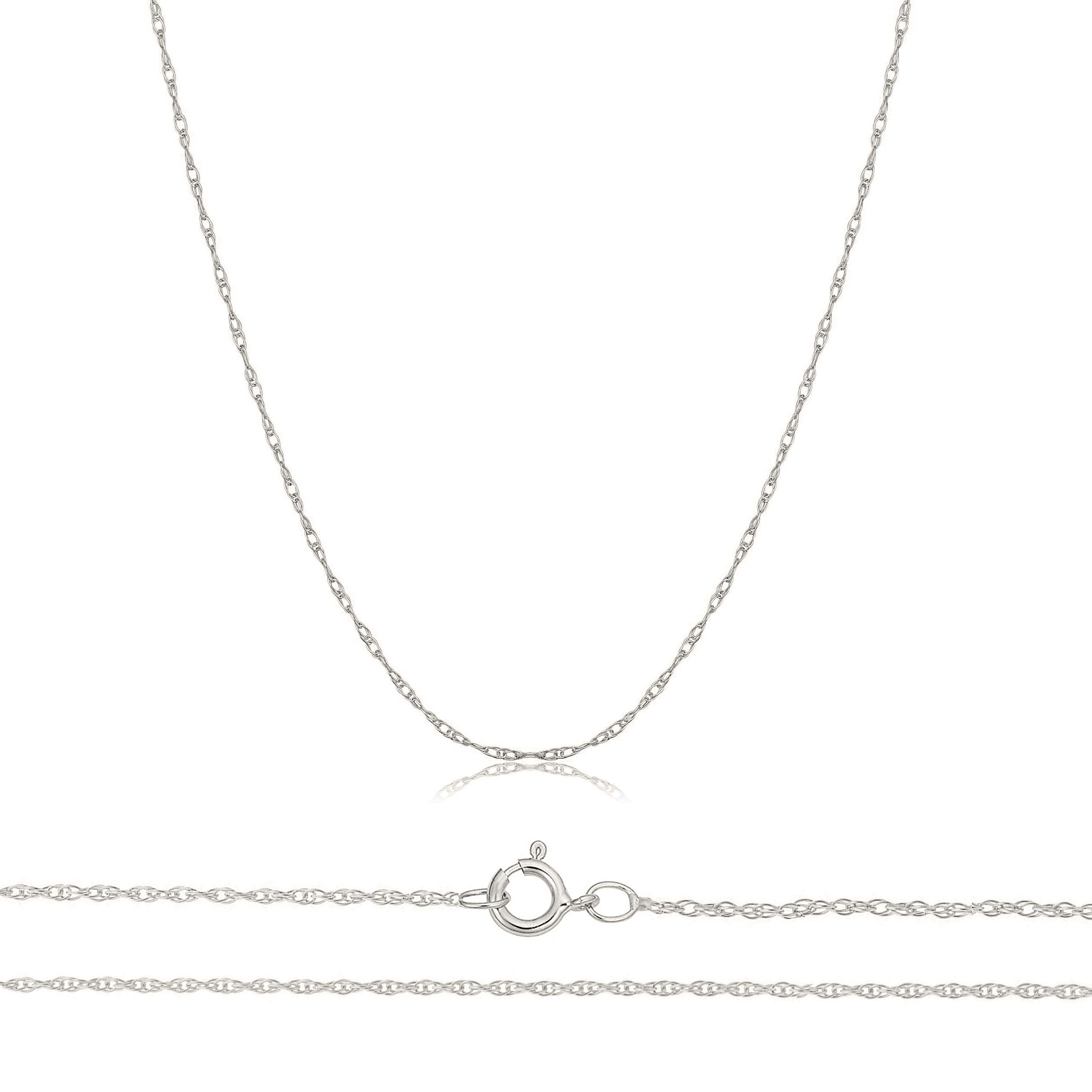 Orostar Solid 10K Yellow, White Gold 0.8mm Thin Rope Chain 16''-30'' (White Gold, 16)
