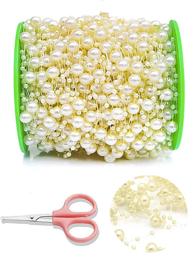 5M STRING ACRYLIC FAUX PEARL BEADS GARLAND WEDDING PARTY DECORATION CRAFT FADDIS