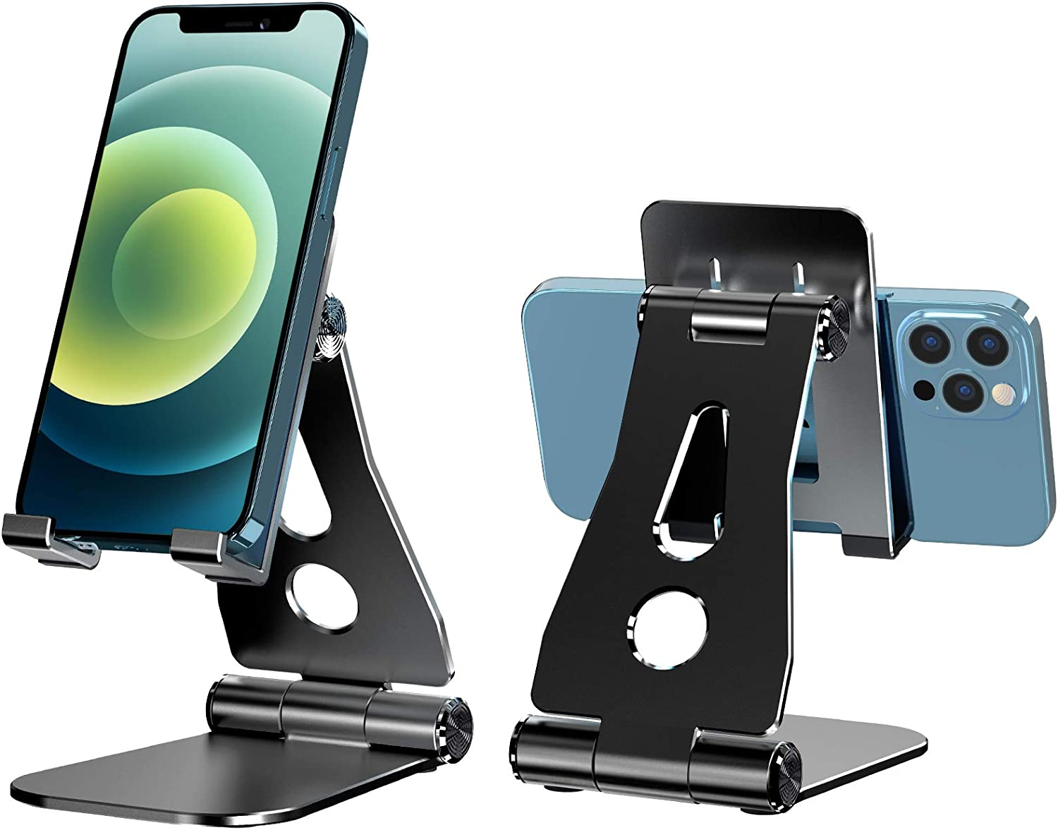 MROCO Adjustable Cell Phone Stand for Desk, Portable & Foldable Desktop Aluminum Phone Holder Cradle Dock Compatible with Phone 12 Mini 11 Pro Xs Xs Max Xr X 8 7 6 6s Plus Smartphones, Tablets, Black