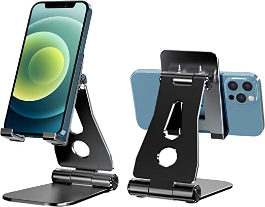 Lamicall Foldable Aluminum Desktop Phone Holder Cradle Dock Adjustable Cell Phone Stand for Desk Tablets Compatible with Phone 12 Mini 11 Pro Xs Xs Max Xr X 8 7 6 6s Plus Smartphones 4-11