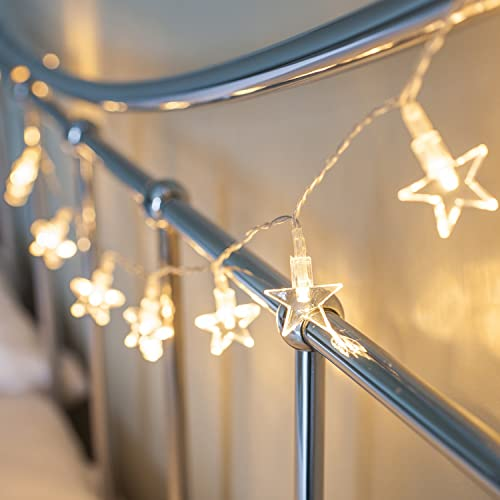 Lights4fun Battery Operated Star Fairy Lights with 10 Warm White LEDs