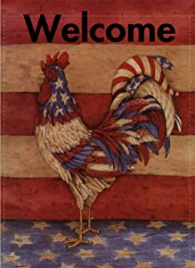 Selmad Welcome July 4 Patriotic Garden Flag Farm Rooster Double Sided, Fall Rustic Burlap Decorative House Yard Decoration, Autumn Farmhouse Country Seasonal Home Outdoor Vintage Décor 12 x 18 Summer