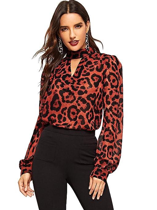 df7dd3a82fa757 SheIn Women s Choker Neck Long Sleeve Sheer Leopard Print Chiffon Blouse Top  at Amazon Women s Clothing store