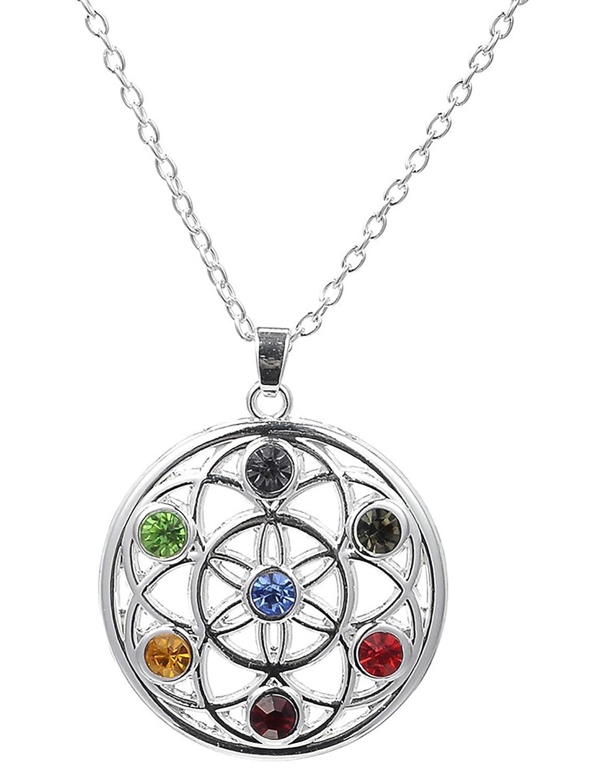 Attaches de type 7Chakra Yoga Pendentif fleur de vie cristal collier pour mixte personnes GeXiang