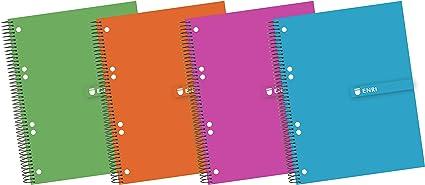 Enri 100430087 - Pack de 5 cuadernos en espiral, tapa extradura ...