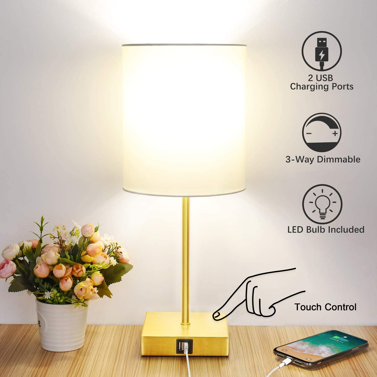 Touch Control Table Lamp, 3-Way Dimmable, 2 USB Fast Charging Ports, Bedside Nightstand Lamp with TC Cloth Shade for Bedroom, Living Room, Dorm, Office, 60W Equivalent E26 LED Bulb Included(Gold)