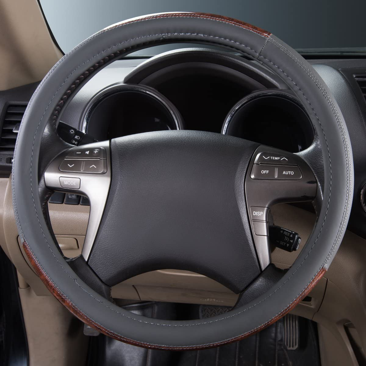 Car Pass Universal Auto Lenkradhülle Lenkrad Abdeckung Heavy Duty Lenkradbezug Aus Echtes Leder 38cm 15 Anti Rutsch Lenkradabdeckung Lenkradschoner Auto