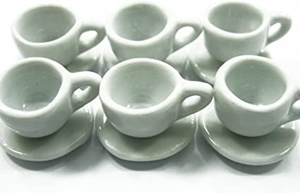 20 Coffee cup and 20 Scalloped  Mini Red  Dollhouse Miniatures Ceramic Deco