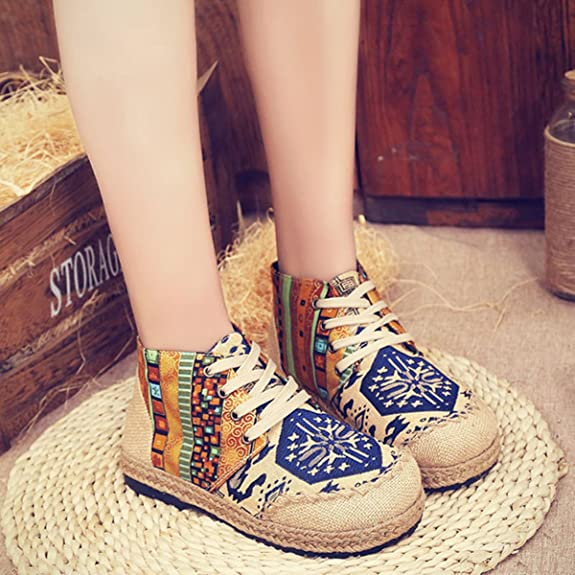 Canvas BootsWomen's Flat Ankle Comfortable Boots Retro Vintage colorful Pattern Casual Shoes
