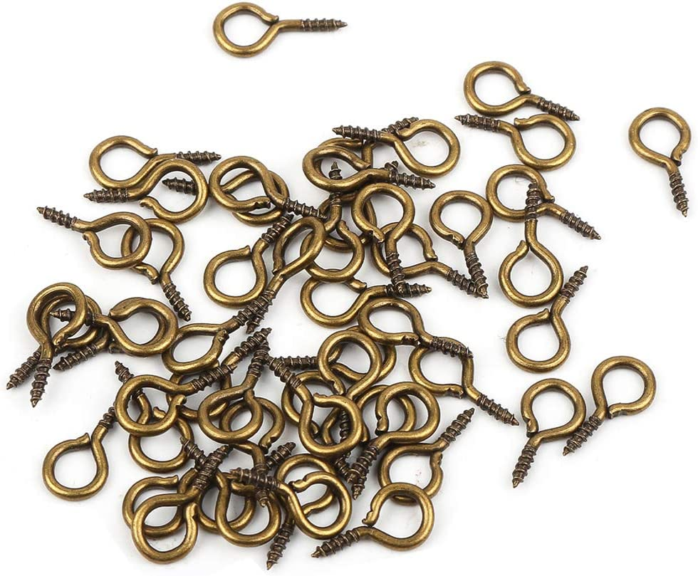 Antique Bronze ANWANG 100 Pieces Small Screw Eyes Pin Hook for Jewelry for Jewelry Making Findings DIY Crafts 5 x 10mm