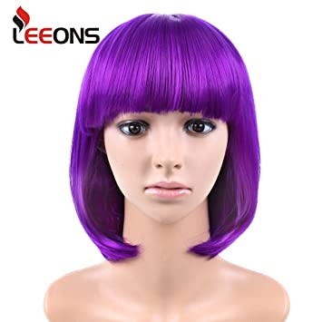 LEEONS 12 quot  Cosplay Short Purple Wig Full Straight Flat Bangs Bob  Synthetic Hair Wig for 0fd842d7c