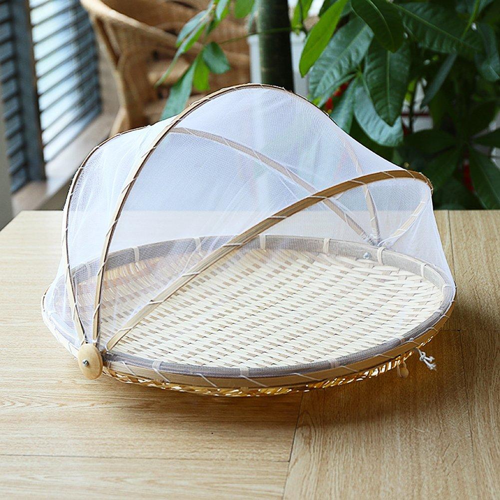 a prueba de polvo para servir alimentos Cheerfulus Cesta de picnic redonda tejida a mano con gasa