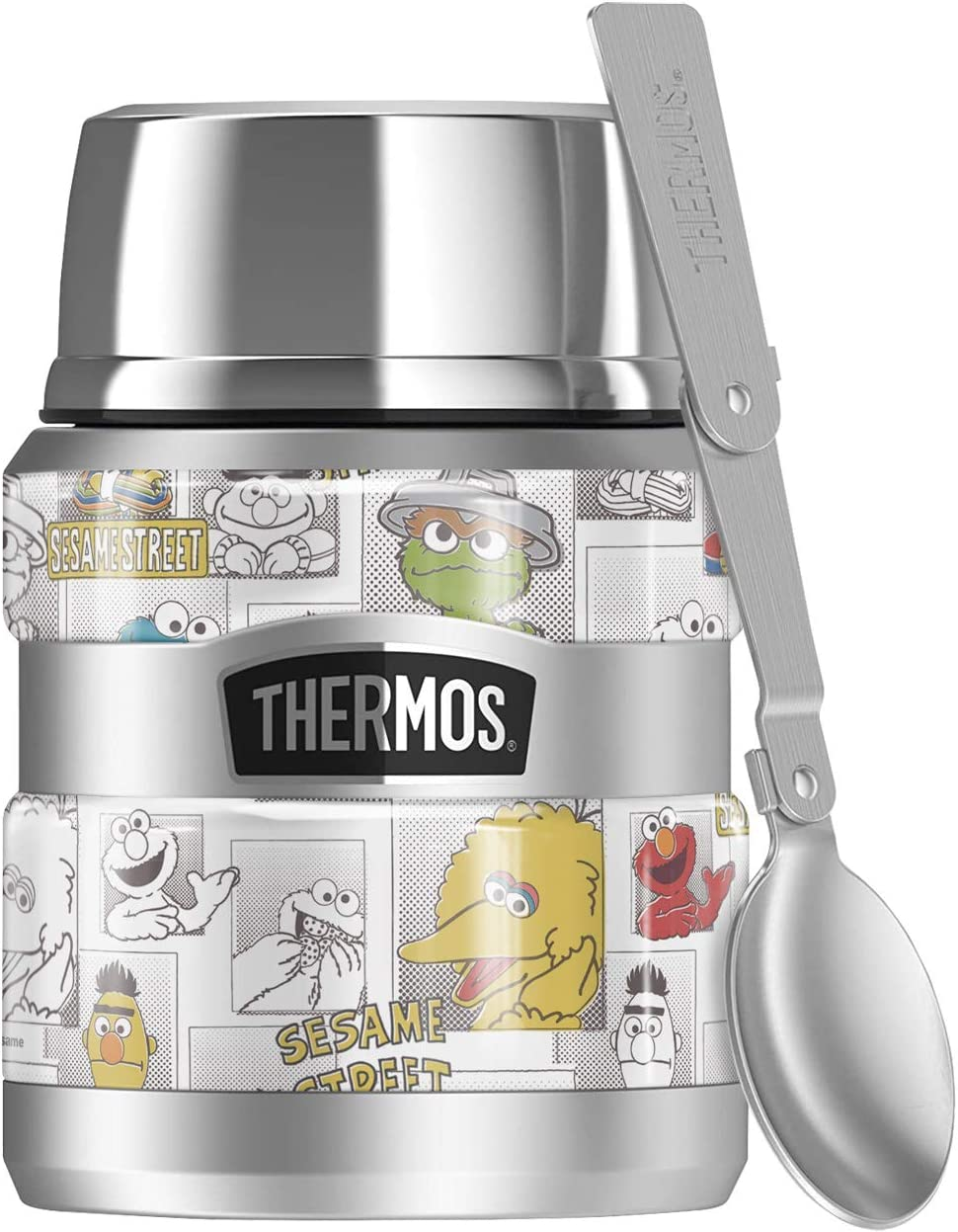 Sesame Street Character Comic Panels THERMOS STAINLESS KING Stainless Steel Food Jar with Folding Spoon, Vacuum insulated & Double Wall, 16oz