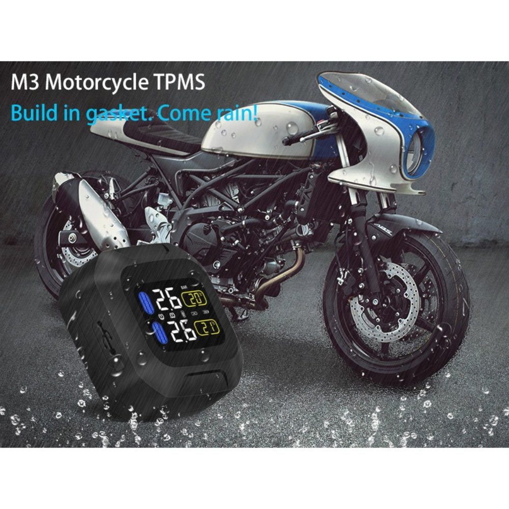 Wireless Motorcycle Tire Pressure Monitoring System,Malcam Universial Waterproof TPMS LCD Display with 2pcs External Sensors 4347510147