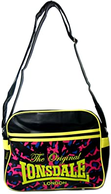 d8367b825ca Large Black Lonsdale Despatch Bag With Large Shoulder Strap - Black Lime Multi  - UK SIZE 1  Amazon.co.uk  Shoes   Bags