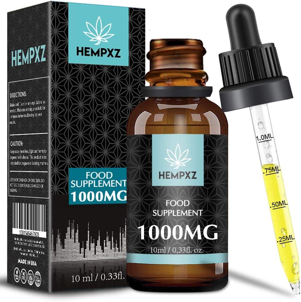 Hempxz. Aceite de cáñamo, alta resistencia, ingredientes naturales, 10% (10 ml) EE. UU. (1000mg)