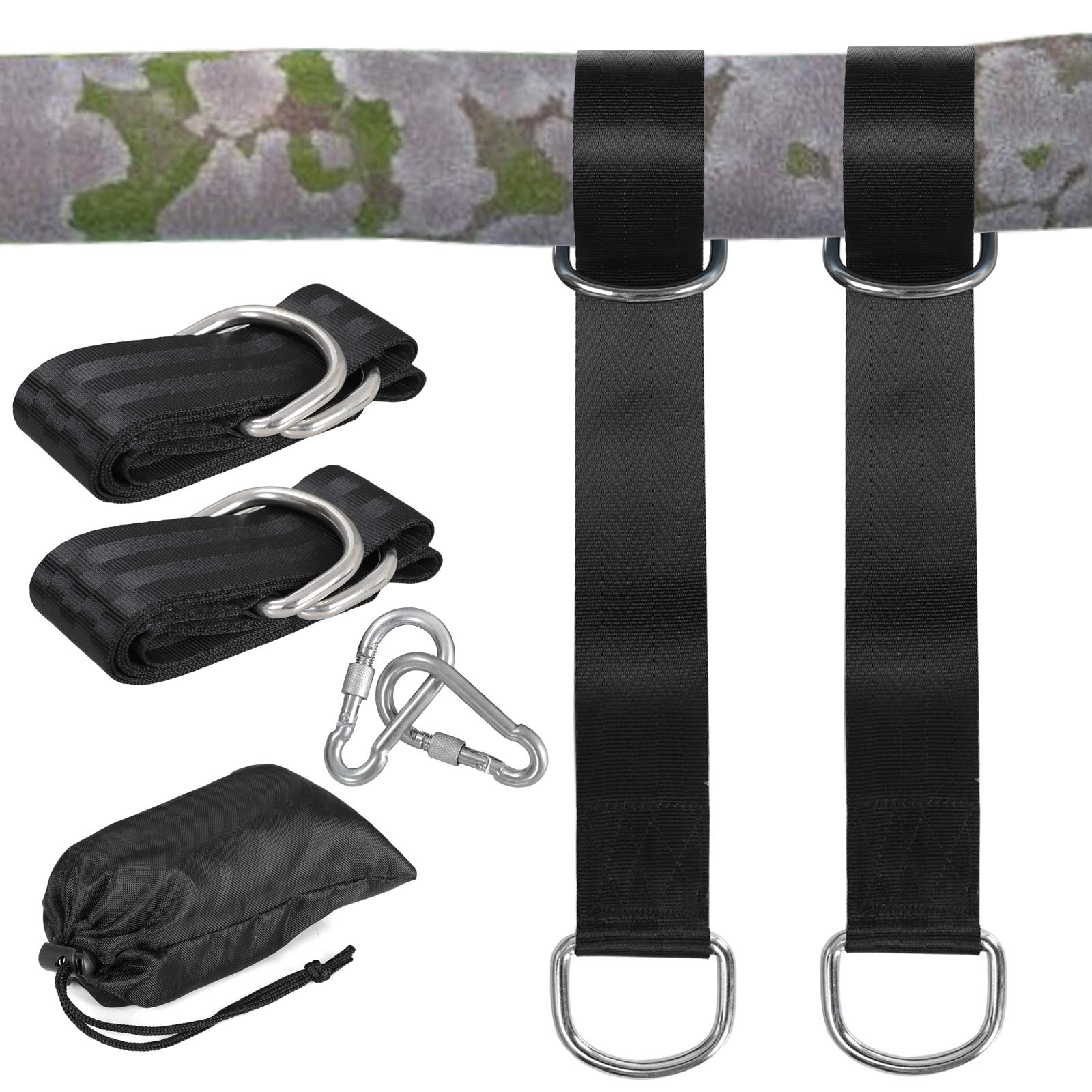 ZENY Tree Swing Straps Hanging Kit Outdoor Hammock Strap Hangers 5ft Long with Safer Lock Snap Carabiner Hooks Set of 2 Straps Holds 660 lbs,Perfect for Tire and Saucer Swings,Carry Bag Included