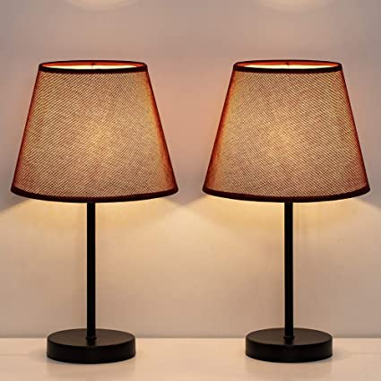 HAITRAL Bedside Table Lamps - Simple Desk Lamps Set of 2 with Red Wine  Fabric Shade, Small Nightstand Lamp for Bedrooms, Office, Dorm, Girls Room  - 15 ...