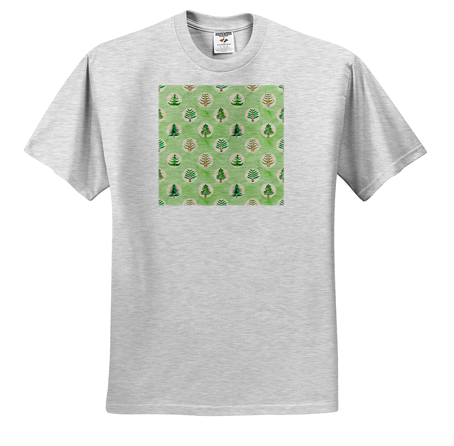 Cute Image of Watercolor Forest Trees in Circles Pattern ts/_318545 3dRose Anne Marie Baugh Christmas Adult T-Shirt XL
