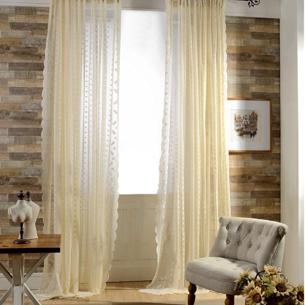 Elisona-Floral Pattern Warp Knitting Curtain Valance Room Door Window Balcony Curtain