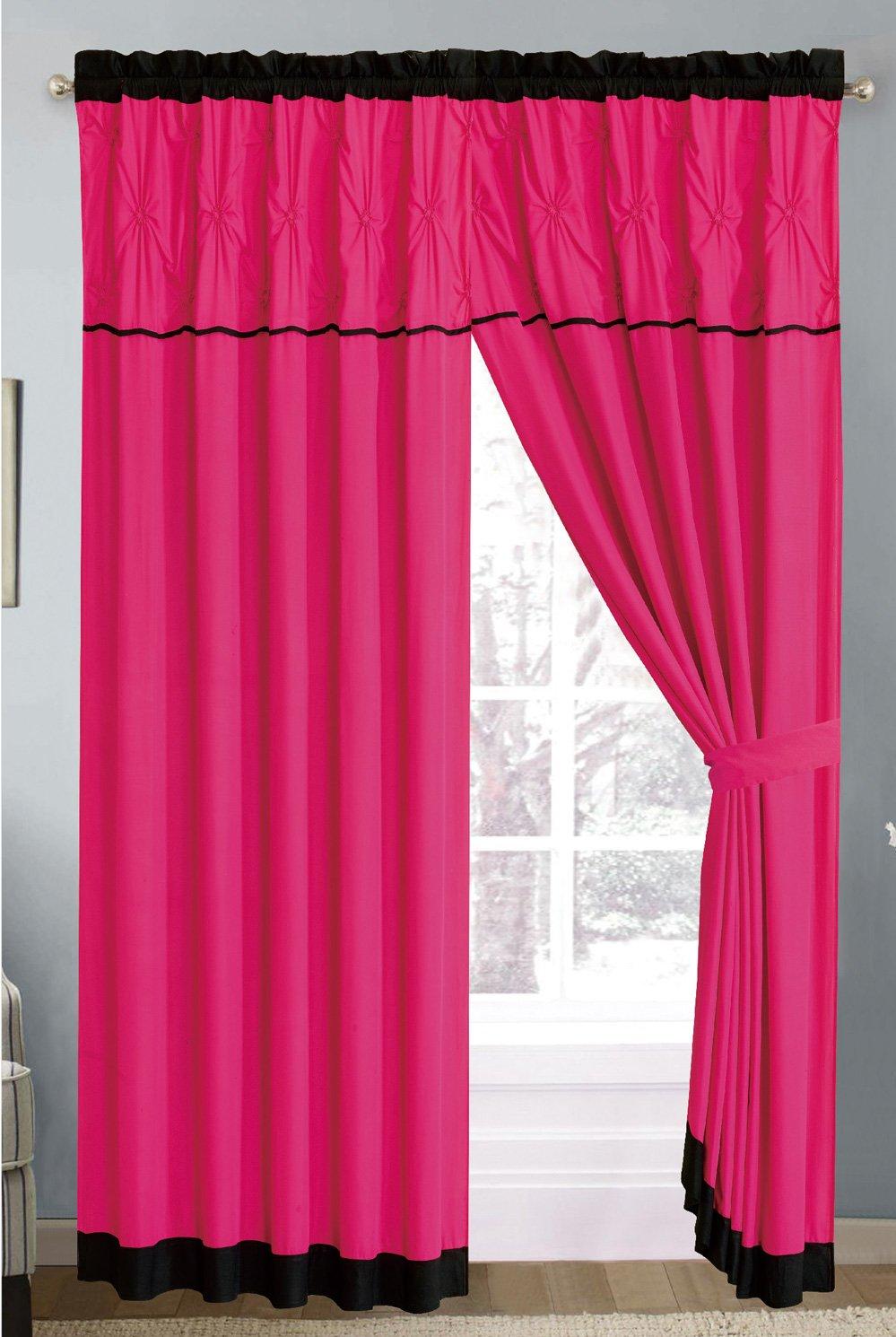 Modern Hot Pink / Black Geometric Embroidered Curtain set
