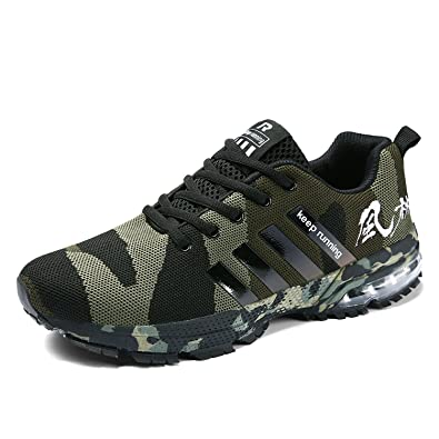 best loved 93cd3 9a075 Senbore Men Casual Sports Shoes Air Trainers Fitness Flats Running Athletic  Competition Sneakers Camouflage Green