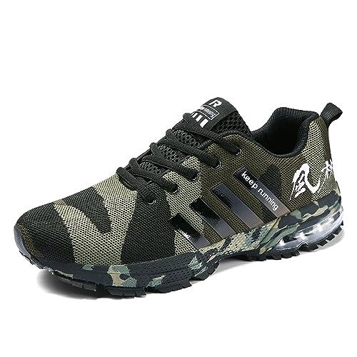 Senbore - Zapatillas de Running de Sintético para Hombre Gris Gris 44.5 EU, Color Verde, Talla 45 EU: Amazon.es: Zapatos y complementos