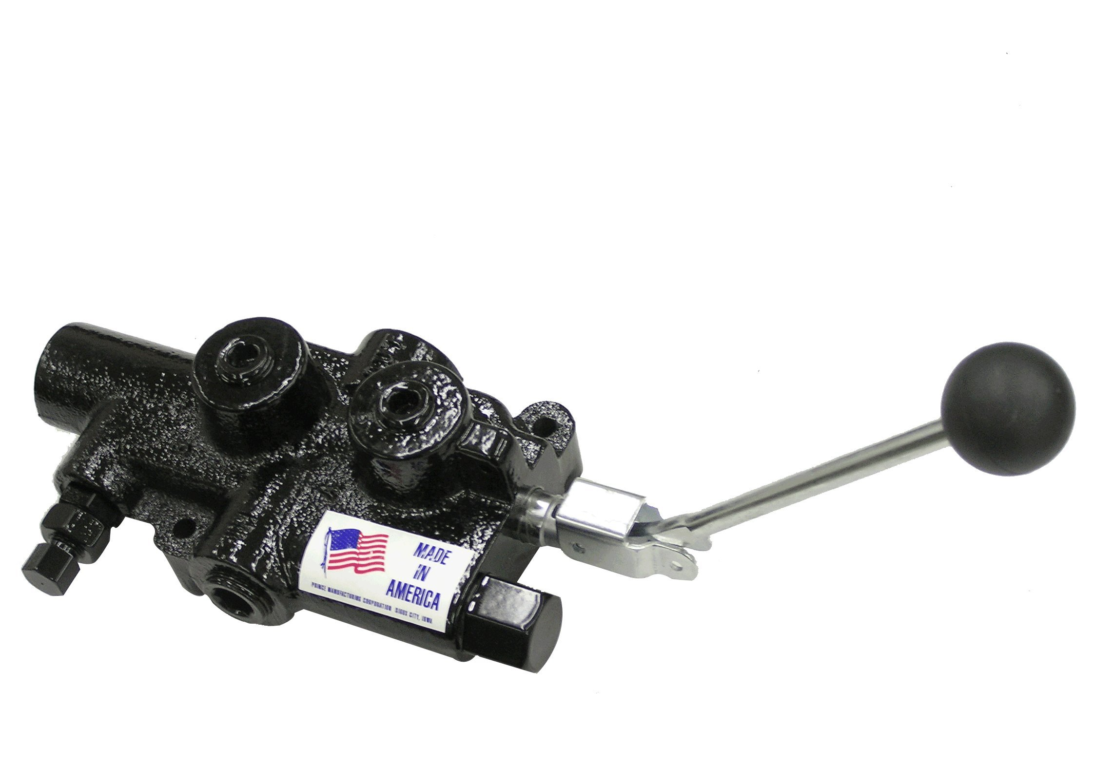 Prince Manufacturing LS-3060-2 Directional Control Valve, Log Splitter, 4 Ways, 3 Positions, Cast Iron, Lever Handle, 2750 psi, 25 GPM, 3/4'' NPTF In/Out, 3/4'' NPTF Work, Gloss Black