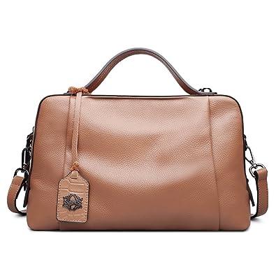 cf7928661 ZOOLER Leather Handbags for Women Top Handle Bag Crossbody Bags Large  Capacity (Brown)