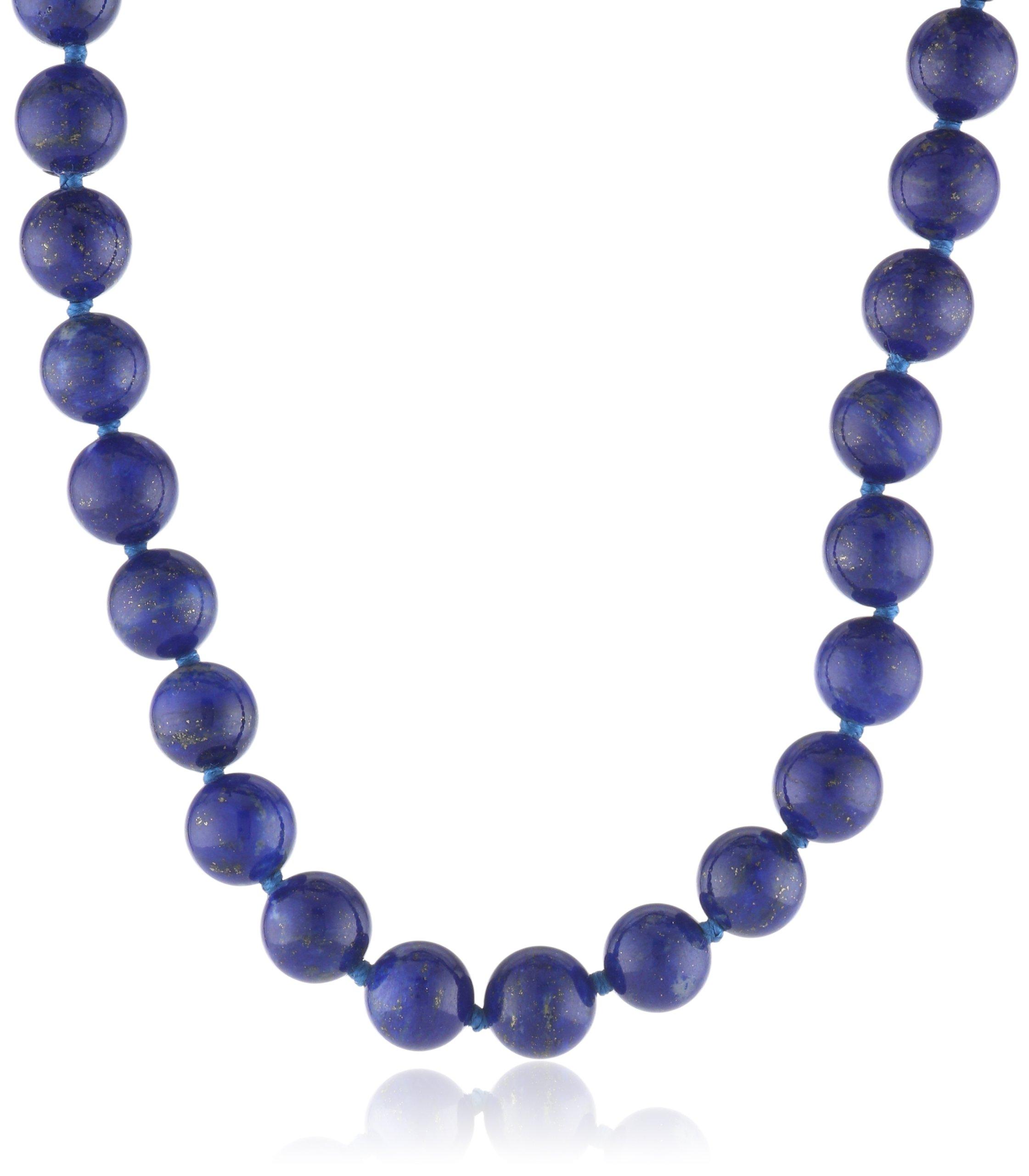 14k Yellow Gold 8mm Lapis Lazuli Bead Necklace, 17''