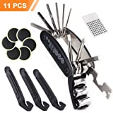 Bike Repair Tool Kit, EMIUP Multifunction Portable Mountain Bike Tools and Puncture Kit with 16 in 1 Multifunction Tool, 3 Tyre Levers, 6 Emergency Glue-less Patches and Metal Rasp for Outdoor Cycling(11 Piece)