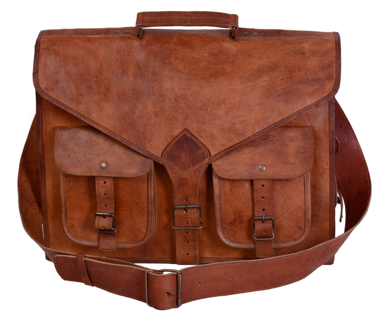 universal leather 18 inch leather laptop messenger bag briefcase satchel