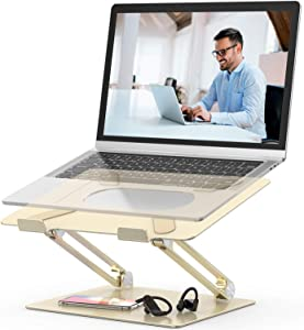 "Laptop Stand,Youbester Adjustable Multi-Angle Stand with Heat-Vent to Elevate Laptop, Aluminum Ergonomic Portable Computer Notebook Stand Compatible for MacBook,Dell,HP More 10-17"" Laptops (Gold)"