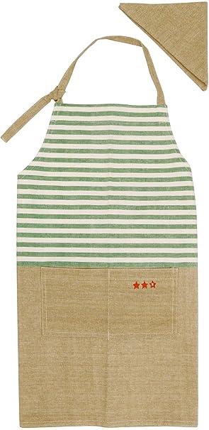 cc4646db43a2dc GV エプロン 子供用 三角巾付き ミシュラン キッズエプロン グリーン 539106