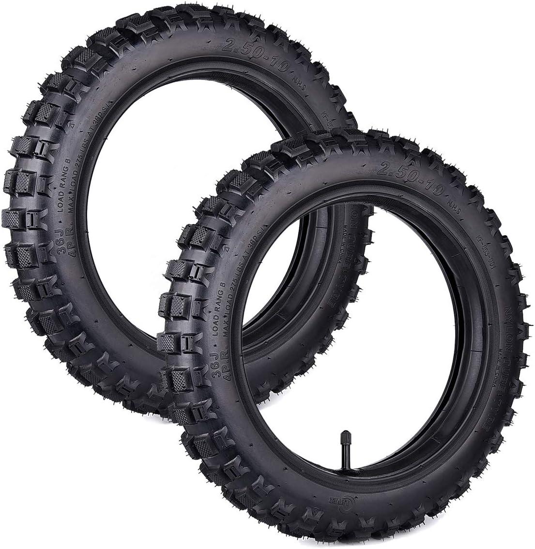 Juego de 2 neumáticos para bicicleta CRF50 con tubos de 2,50-10 ...