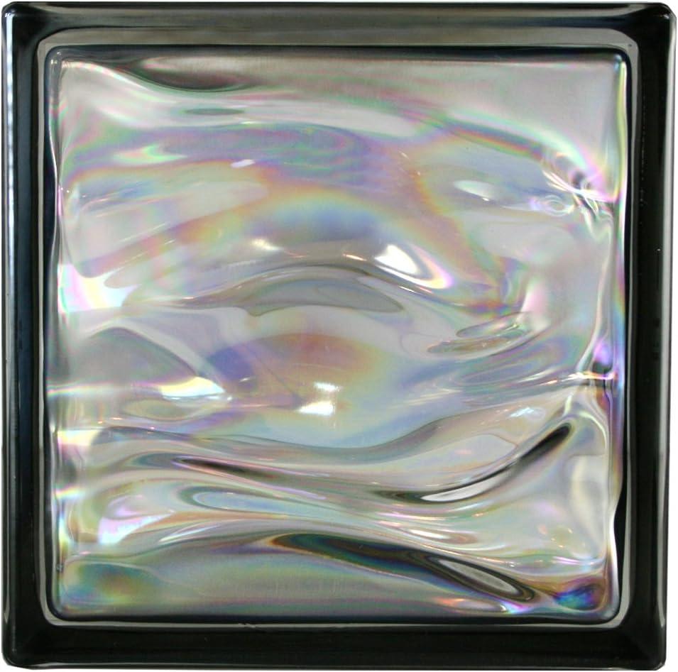 6 piezas BM bloques de vidrio AGUA perla negro 19x19x8 cm: Amazon ...