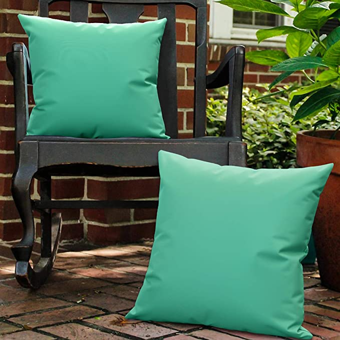 Lewondr Waterproof Outdoor Throw Pillow Cover 2 Pack Solid Pu Coating Throw Pillow Case Uv Protection Garden Cushion Cover For Patio Sofa Couch Balcony 18 X18 45x45cm Alpine Green Home Kitchen