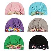 Xinshi Newborn Hat Soft Turban Baby Girl Big Bow Knot Cap (HC06 (6PCS))