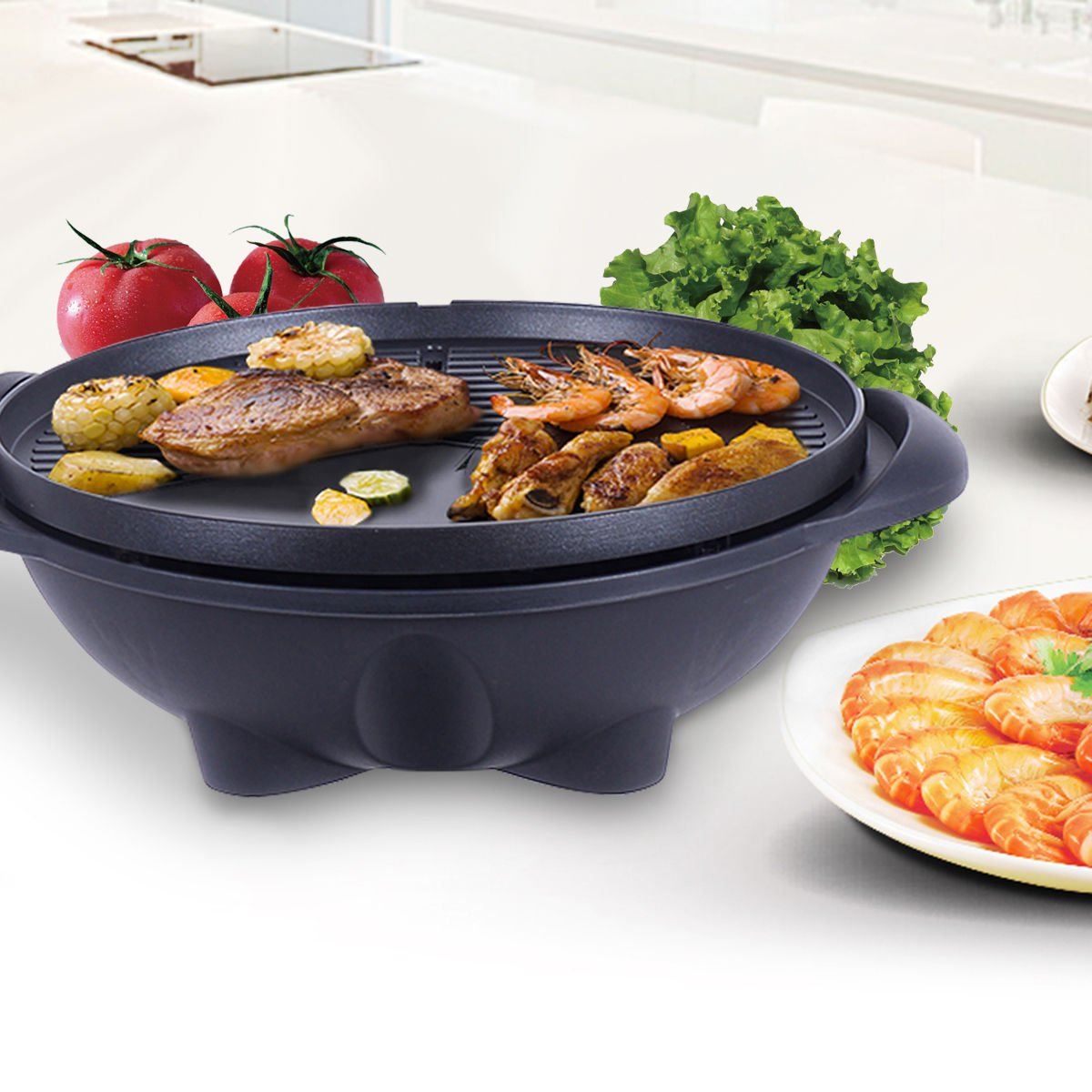 New Electric BBQ Grill 1350W Non-stick 4 Temperature Setting Outdoor Garden Camping by totoshop (Image #4)