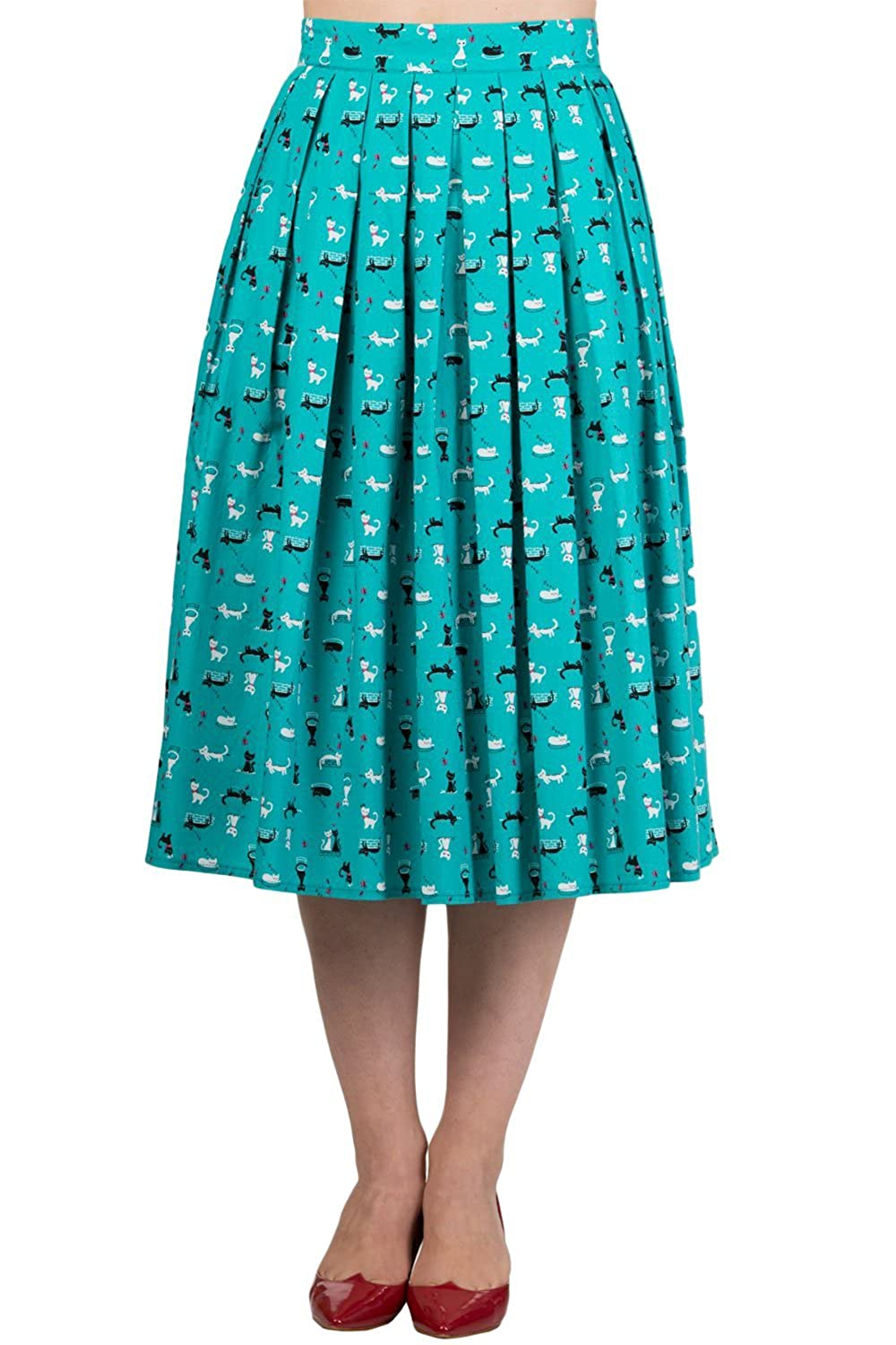 Banned 60's Retro Kitty Love Vintage Kitty cat Midi Pleated skirt