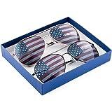MJ Eyewear American Flag Aviator Sunglasses Glasses Gift Box