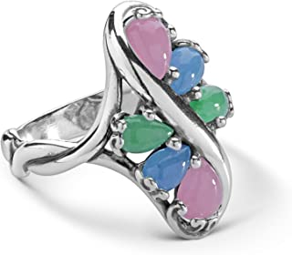 product image for Carolyn Pollack Sterling Silver Green, Blue and Pink Jade Gemstone Cluster Ring Size 5